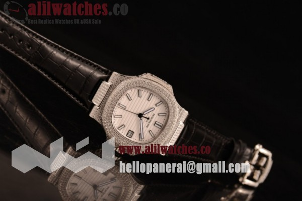 Best Quality Patek Philippe Nautilus Steel Case Diamonds Bezel White Dial Stick Markers Black Leather Strap