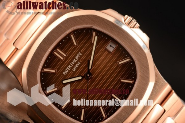 1:1 Clone Patek Philippe Nautilus Rose Gold Case Brown Dail Stick Markers