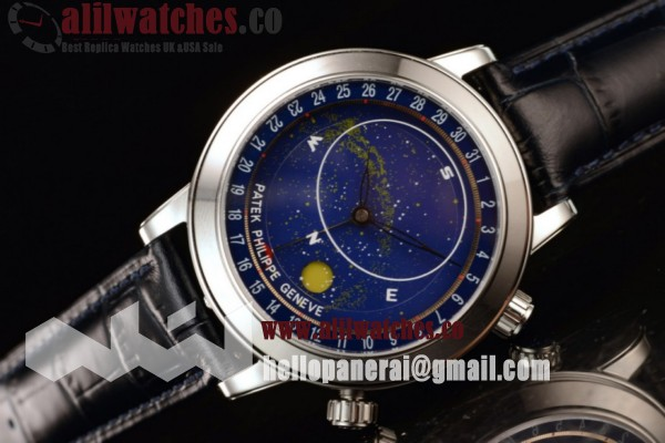 Patek Philippe Grand Complication Sky Moon Celestial Best Replica Blue Dial Steel Case Black Leather Strap (GF)