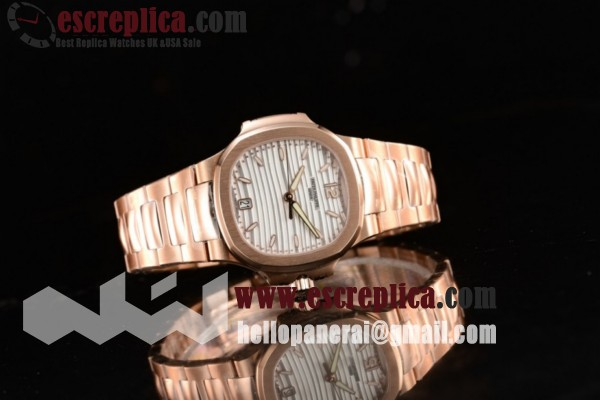 Patek Philippe Nautilus Top Quality White Dial Rose Gold Case Rose Gold Bracelet