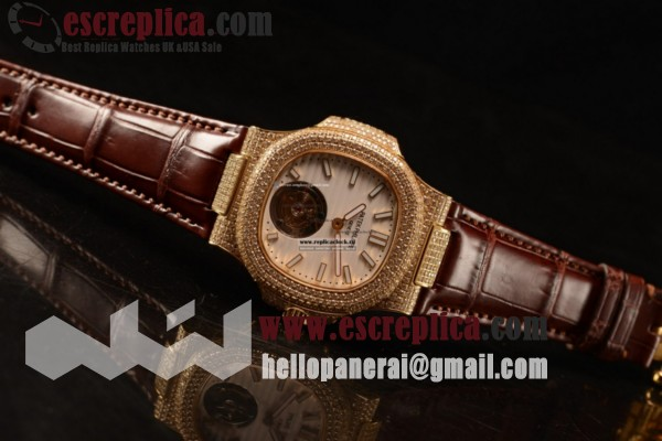 Patek Philippe Best Replica Nautilus White Dial Yellow Gold Case Brown Leather Strap
