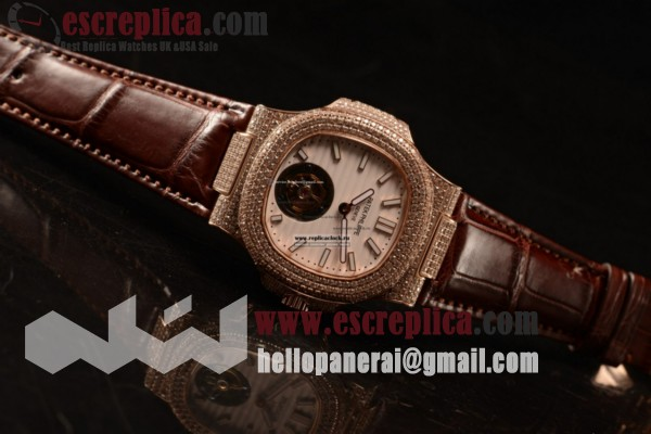 Patek Philippe Best Replica Master White Dial Rose Gold Case Brown Leather Strap
