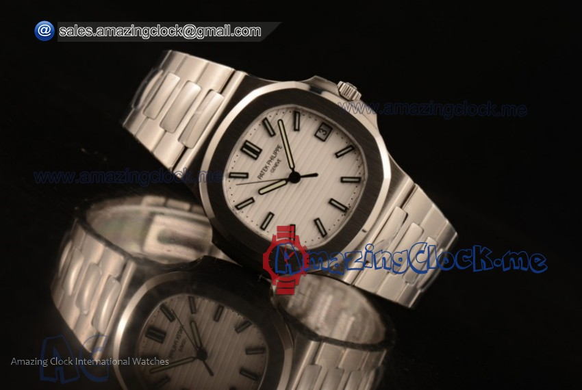 1:1 Clone Patek Philippe Top Quality Nautilus Jumbo Steel Case White Dial Stainless Steel Bracelet