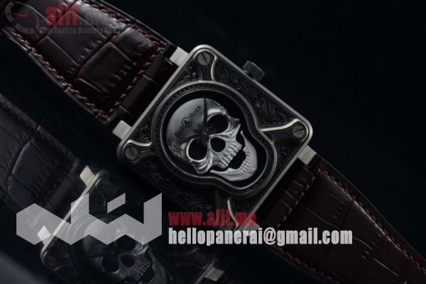 1:1 Replica Bell & Ross BR 01 Burning Skull Steel Case Brown Leather Strap (AAAF)