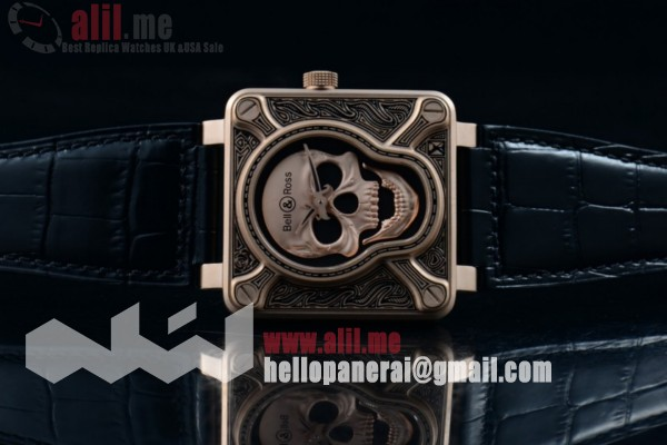 1:1 Replica Bell & Ross BR 01 Burning Skull Rose Gold Case Black Leather Strap (AAAF)