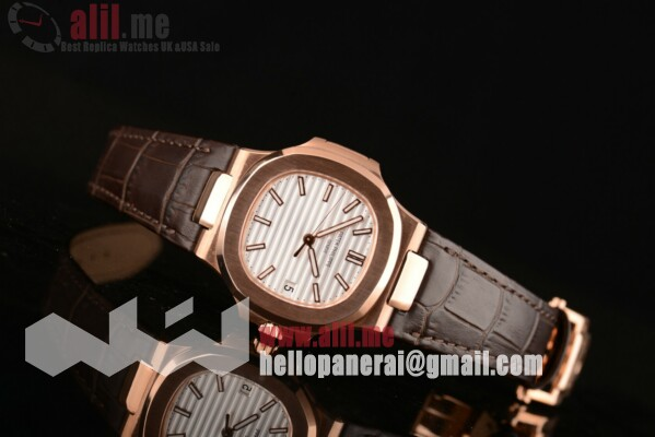 1:1 Clone Patek Philippe Nautilus White Dial Rose Gold Case Leather Strap (ZF)