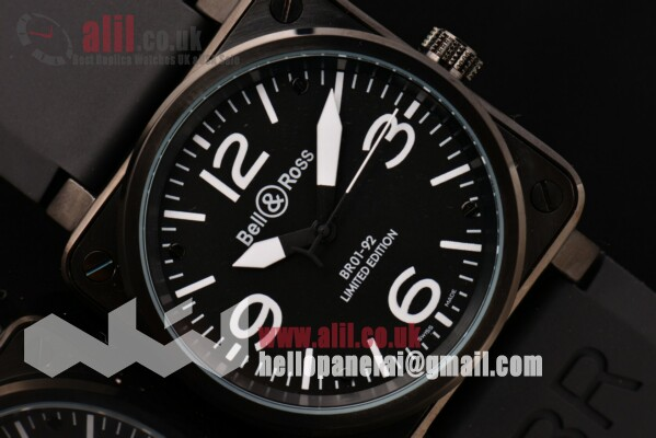 Bell&Ross BR01-92 Fake Black Dial PVD Case Rubber Strap