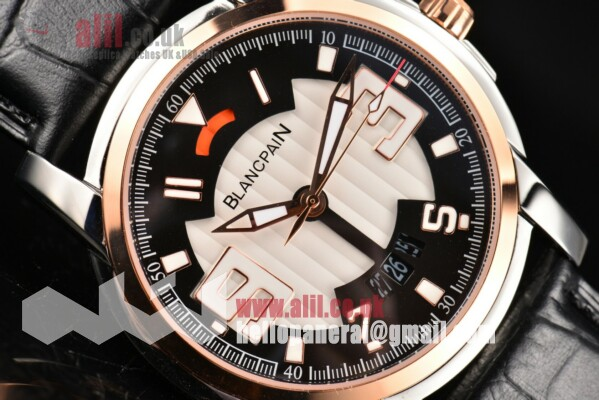 Blancpain 1:1 Replica L-Evolution Automatic 8 Days Black/White Dial Steel Case Leather Strap (G5)