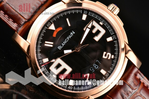 1:1 Replica Blancpain L-Evolution Automatic 8 Days Black Dial Rose Gold Case Leather Strap (G5)