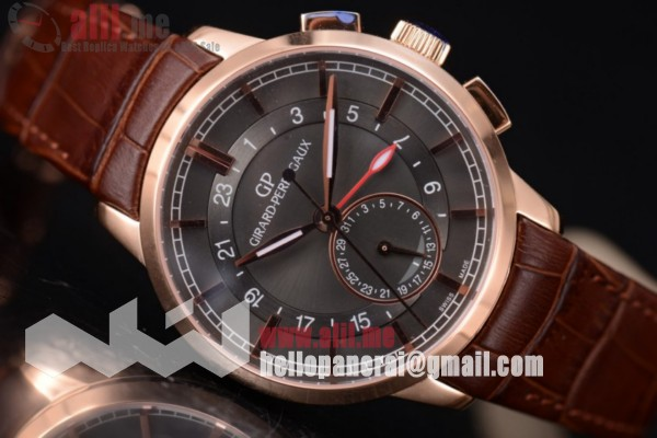 Best Replica Girard Perregaux 1966 Dual Time Grey Dial Rose Gold Case Leather Strap