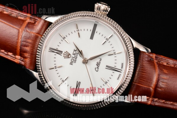 Fake Rolex Cellini Time White Dial Steel Case on Brown Leather Strap