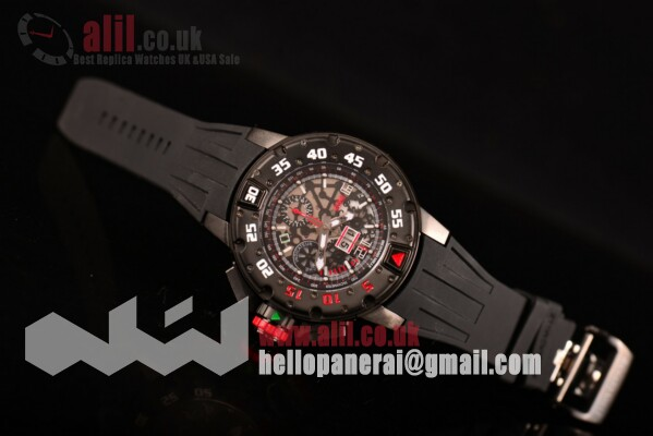 1:1 Clone Richard Mille RM 032 Chronograph Skeleton Dial PVD Case Rubber Strap