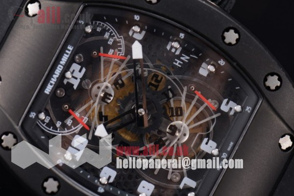 Richard Mille RM 022 Carbone Tourbillon Aerodyne Double Time Zone 1:1 clone Black Dial PVD Case Rubber Strap