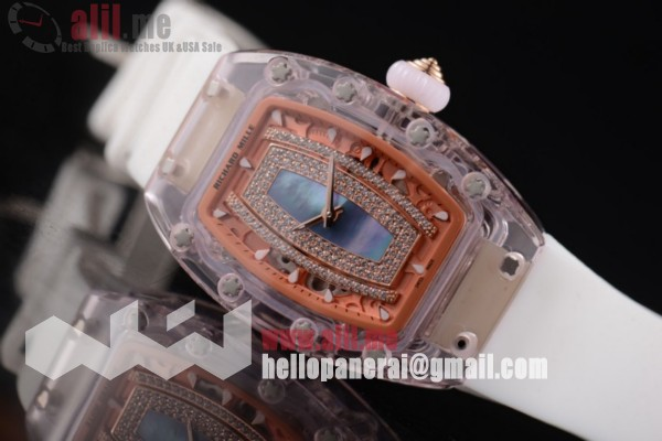 Richard Mille 1:1 Clone RM 07-02 Black Dial Pink Sapphire White Rubber Strap