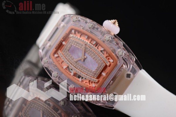 Richard Mille RM 07-02 Pink Dial Pink Sapphire White Rubber Strap 1:1 Clone