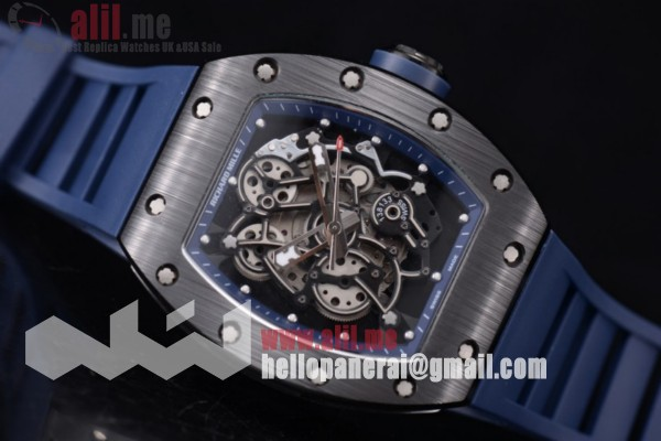 Richard Mille RM 055 Skeleton Dial PVD Case Blue Rubber Strap Best Replica