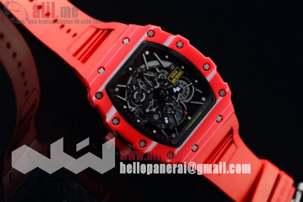 1:1 Replica Richard Mille RM 35-02 RAFAEL NADA PVD Case Skeleton Red Rubber