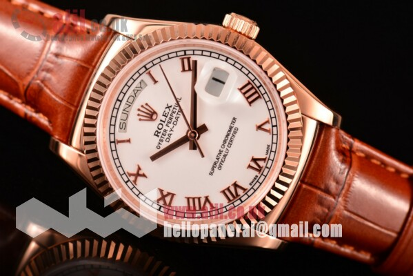 Rolex Day-Date Replica White Dial Rose Gold Case Leather Strap (BP)