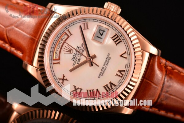 Rolex Day-Date Replica White MOP Dial Rose Gold Case Leather Strap (BP)