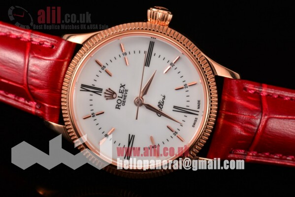 Fake Rolex Cellini Time White Dial Rose Gold Case on Red Leather Strap