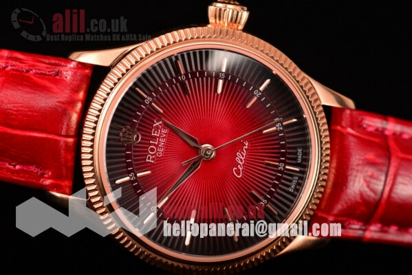 Rolex Cellini Time Black/Red Dial Fake Rose Gold Case on Red Leather Strap