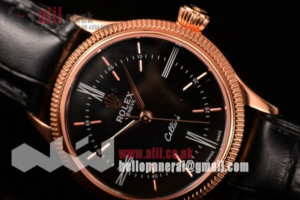 Rolex Fake Cellini Time Black Dial Rose Gold Case on Black Leather Strap