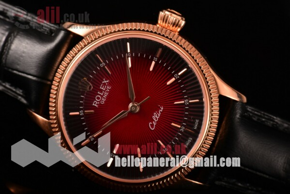 Rolex Cellini Time Black/Red Dial Fake Rose Gold Case on Black Leather Strap