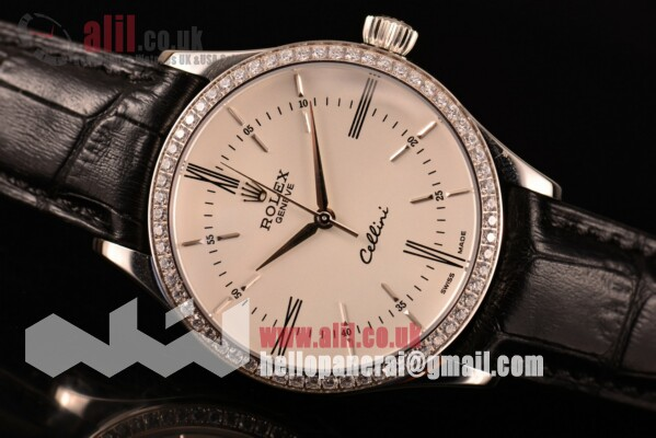 Fake Rolex Cellini White Dial Diamonds Bezel Steel Case Leather Strap (BP)