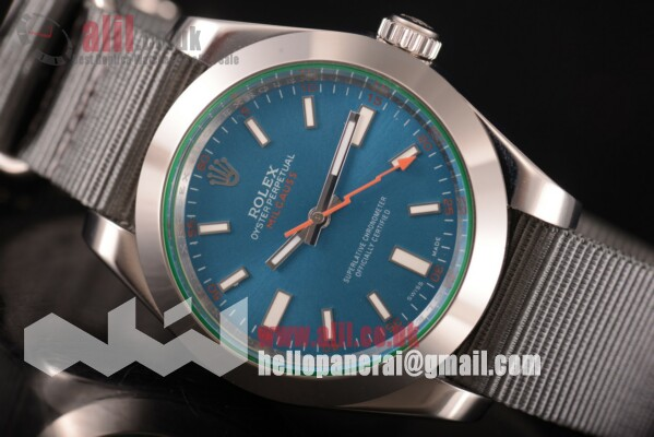 Rolex Milgauss Blue NY Blue Dial Steel Case Fake Nylon Strap