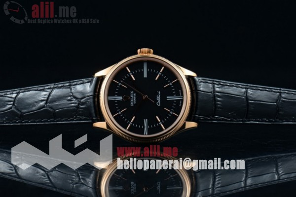 Top Quality 1:1 Clone Rolex Cellini Time Black Dial Rose Gold Case Black Leather Strap (BP)