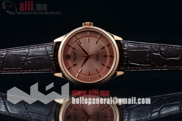 Top Quality 1:1 Clone Rolex Cellini Time Rose Gold Dial Rose Gold Case Brown Leather Strap (BP)