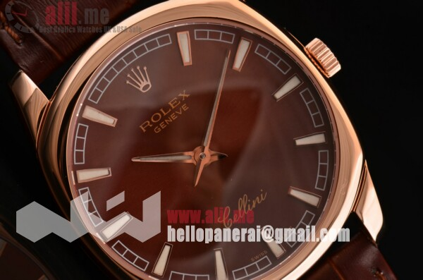 Best Replica Rolex Cellini Brown Dial Rose Gold Case Brown Leather Strap