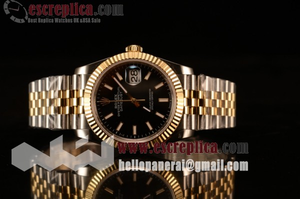Rolex Datejust 37mm Yellow Gold Case Black Dial Stick Yellow Gold Bracelet (BP)