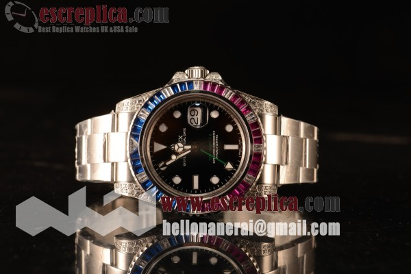 Rolex GMT-Master II All Diamond Red/Blue Bezel Automatic (Correct Hand Stack) 116759SARU
