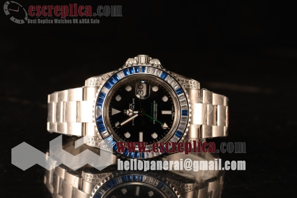 Rolex GMT-Master II All Diamond Blue Bezel Automatic (Correct Hand Stack) 116759SA