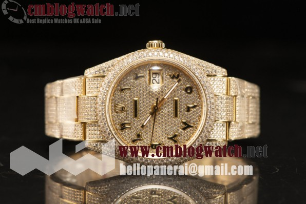 Rolex Day Date II YG Case With All Diamond Roman ETA 2836 Auto Best Edition