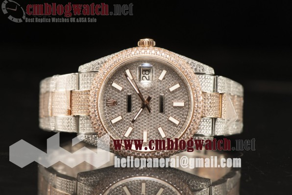Rolex Day Date II RG Two Tone Case With All Diamond Roman ETA 2836 Auto Best Edition