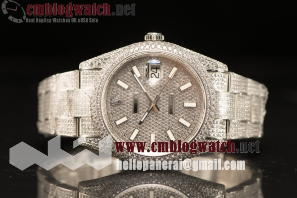 Rolex Day Date II Steel Case With All Diamond Roman ETA 2836 Auto Best Edition