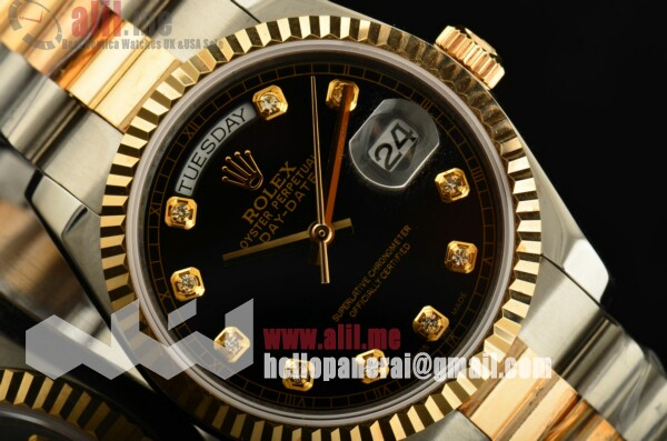 Rolex Datejust II Black Dial Diamond Markers Two Tone Case Two Tone Bracelet Fake
