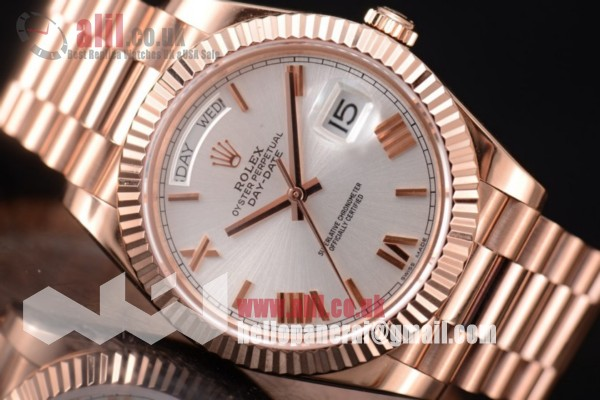 Rolex Day Date II Silver Dial 1:1 clone Full Rose Gold (BP)
