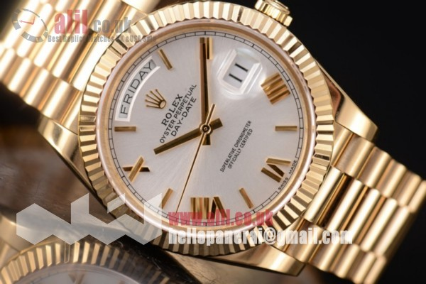 Rolex Day Date II Silver Dial 1:1 clone Full Yellow Gold (BP)