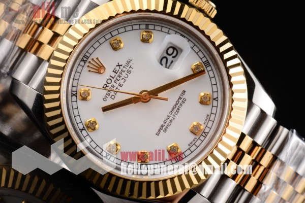 Rolex Datejust II White Dial Replica Two Tone Case Two Tone Bracelet (BP)