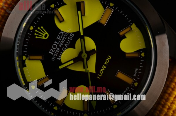 "Rolex Fake Milgauss ""I lover you"" Bamford Black Dial PVD Case Nylon Strap Yellow Hands"