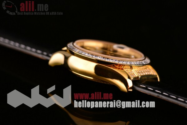 Fake Rolex Datejust Black Dial Yellow Gold Case Leather Strap
