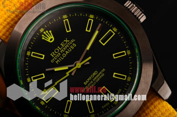 Top Quality Rolex Milgauss SE Stealth Yellow Black Dial PVD Case Yellow Nylon Strap
