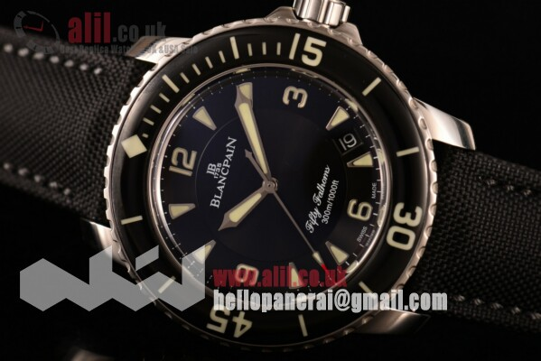 Blancpain Fifty Fathoms Black Dial Steel Case Nylon Strap 1:1 Clone(ZF)