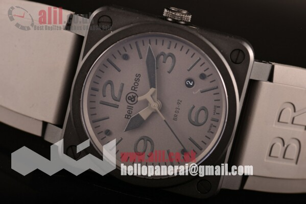 Bell & Ross 1:1 Replica BR 03 Grey Dial PVD Case Rubber Strap