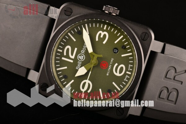 Bell & Ross BR 03 Green Dial PVD Case 1:1 Replica Rubber Strap